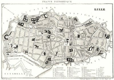 LILLE. Town plan 1835 old antique vintage map chart