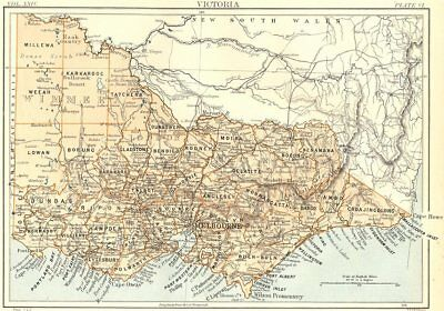 AUSTRALIA. Victoria, showing counties. Britannica 9th edition 1898 old map