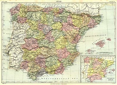 SPAIN. Inset former provinces of Spain. Britannica 9th edition 1898 old map