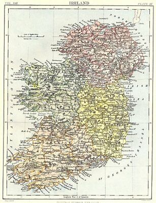 IRELAND. Showing provinces. Britannica 9th edition 1898 old antique map chart