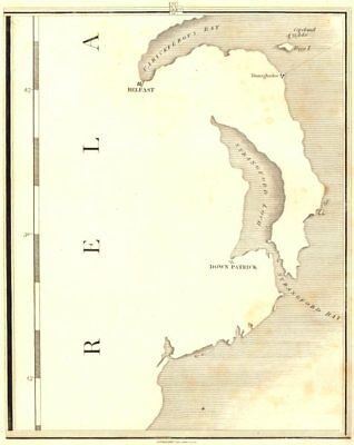 ULSTER. Northern Ireland. Belfast Downpatrick Strangford Loch. CARY 1794 map