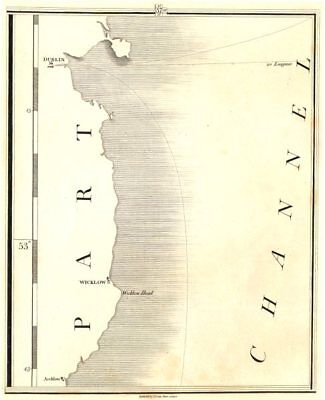IRELAND EAST COAST. Wicklow, Dublin, Arklow, St George's Channel. CARY 1794 map
