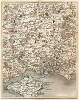 HAMPSHIRE.Winchester Southampton Portsmouth Isle of Wight Newport.CARY 1794 map