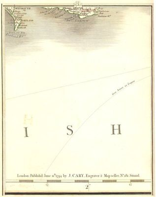DORSET COAST. Weymouth Portland Swanage St Albans Head Channel. CARY 1794 map