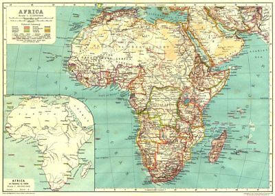 AFRICA. Africa; Inset map of Africa as known in 1850 1910 old antique
