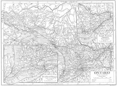 CANADA. Ontario; Inset Southern Ontario; South-Eastern Ontario 1910 old map