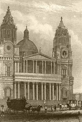 LONDON. St Paul's Cathedral. DUGDALE 1845 old antique vintage print picture