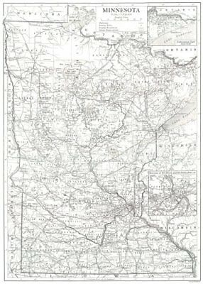MINNESOTA. state map showing counties. Inset maps of St Paul & Minneapolis 1910