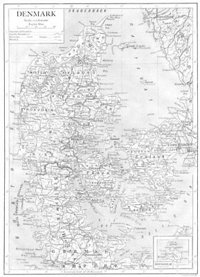 DENMARK. Denmark; Inset map of Bornholm 1910 old antique plan chart
