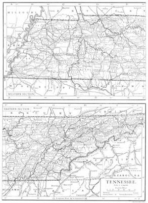 TENNESSEE. Tennessee state map showing counties 1910 old antique chart