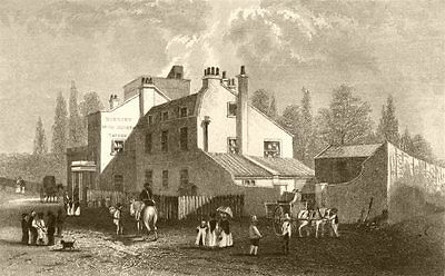 LONDON. Hornsey Wood House. DUGDALE 1845 old antique vintage print picture