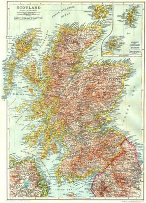 SCOTLAND. Scotland; Inset maps of Orkney and Shetland Islands 1910 old