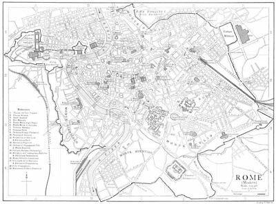 ROME. Rome (Modern) 1910 old antique vintage map plan chart