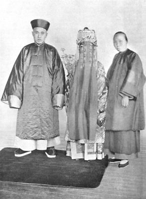 CHINA. Chinese wedding costume; bridegroom dress of a mandarin 1900 old print