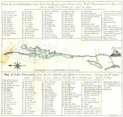 LAKE CHAMPLAIN. Property rights in 1732 Ft Chambly St Frederic Crown Pt 1849 map
