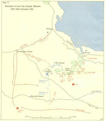 LIBYA. Attempts to turn the Gazala Position 15-16th December 1941 1960 old map