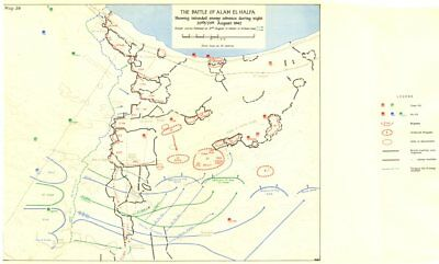 EGYPT.30-31 August 1942.The battle alam el halfa intended enemy advance 1960 map