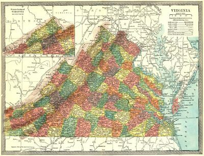 VIRGINIA state map. Counties 1907 old antique vintage plan chart