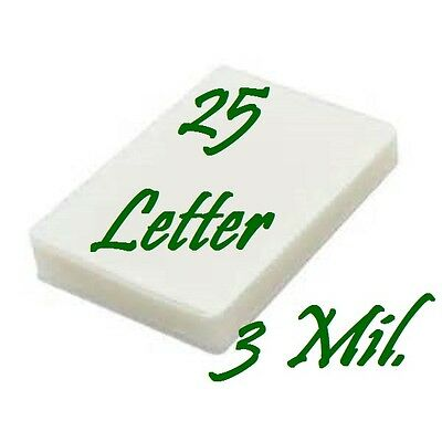 25- Letter Size Laminating Laminator Pouches Sheets  9 x 11-1/2..   3 Mil