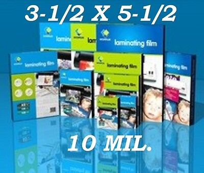 3 x 5 Laminating Pouches Sheets Index Card (25- Pack) 3.5 x 5.5 10 Mil