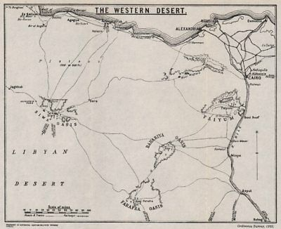 FIRST WORLD WAR. The Western Desert. Egypt 1935 old vintage map plan chart