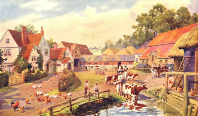 FARMING. An English Farmyard 1912 old antique vintage print picture