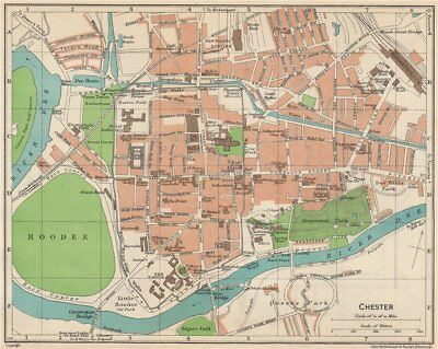 CHESTER. Vintage town city map plan. Cheshire 1950 old vintage chart