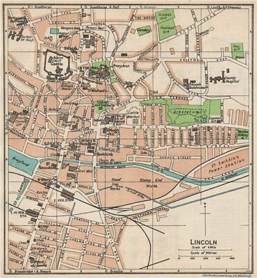 LINCOLN. Vintage town city map plan. Lincolnshire 1950 old vintage chart