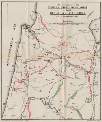 FIRST WORLD WAR.Battle of Megiddo 1918.Turkish 7/8th armies surrounded 1937 map
