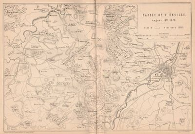 FRANCO-PRUSSIAN WAR. Battle of Vionville (Mars-la-Tour) Aug 1870. Metz 1875 map