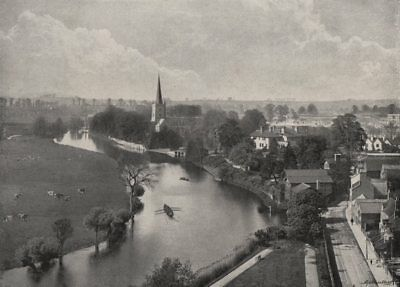 STRATFORD-ON-AVON. View of the town. Warwickshire 1900 old antique print