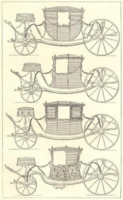 18TH CENTURY FRANCE. State Carriages 1876 old antique vintage print picture