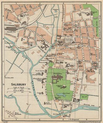 SALISBURY. Vintage town city map plan. Wiltshire 1950 old vintage chart