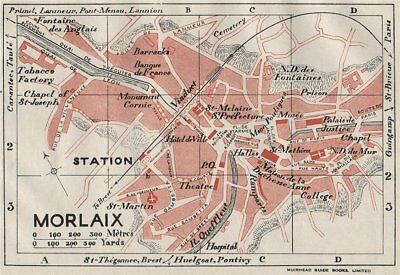 MORLAIX. Vintage town city map plan. Brittany 1926 old vintage chart