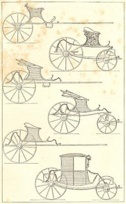 18TH CENTURY FRANCE. Light Carriages 1876 old antique vintage print picture