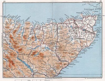 NW SCOTLAND. Sutherland & Caithness. Vintage map plan. Scotland 1967 old