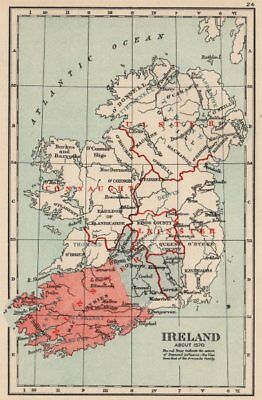 IRELAND IN 1570. Showing Kingdoms/influence of Desmond & Ormonde family 1907 map
