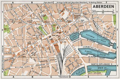 ABERDEEN. Vintage town city map plan. Scotland 1967 old vintage chart