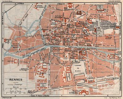 Vienne 1926 Old Vintage Chart Poitiers Vintage Town City Map Plan