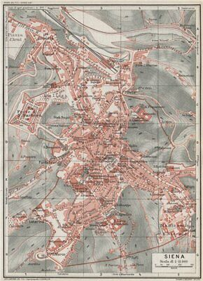 SIENA. Vintage town city map plan. Italy 1924 old vintage chart