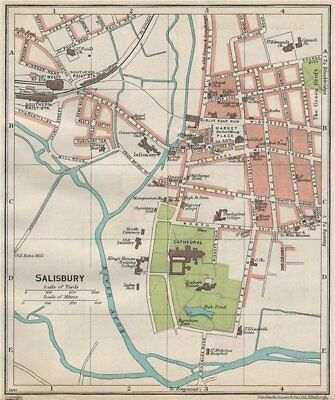SALISBURY. Vintage town city map plan. Wiltshire 1930 old vintage chart