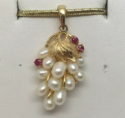 14K Yellow Gold Leaf Pearl & Ruby Pendant