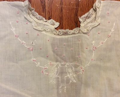 Antique/vtg 1930s Embroidered lace~Christening Gown~night gown~Baby dress linen