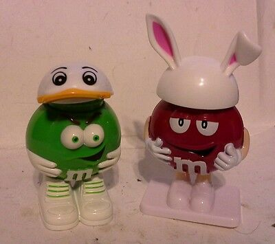 2 EASTER  M&M  MINI'S CANDY DISPENSER Empty