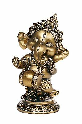 "Ganesha The Hindu Elephant Deity Dancing Playing Instrument Ganesh Figurine 6"" H"