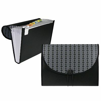 File Folder Box 7 Pocket Tabs Letter Size Expanding Black Office Home Organizer