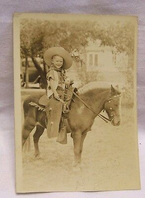 1920's Young Boy in Cowboy Outfit on Shetland Pony RPPC