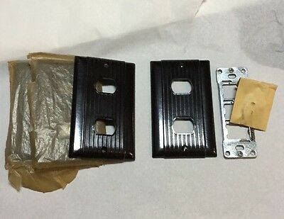4 Despard UNILINE Brown Ribbed Light Switch Plate Covers Vintage Bakelite USA
