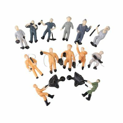 25x Miniature 1:87 Figurine Workers Construction Multicolor for Sand Table Model