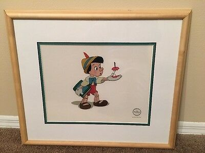 "Disney Sericel Pinocchio ""Here's Your Apple"" Cel Picture COA LE 5000 New"